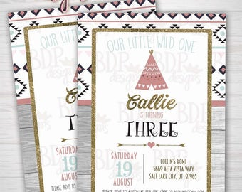 Tribal Teepee Our Little Wild One, 3rd/ANY Birthday Invitation Aztec - Customized Digital Download OR Prints (Details Below)