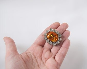 Orange Topaz Brooch, Georgian Jewelry, Victorian Brooch, Reproduction Jewelry, Historical Jewelry, Orange Crystal Pin, Rhinestone Brooch