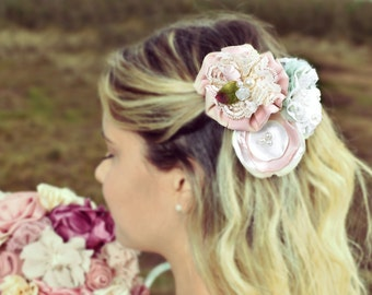 lace hair flower, bridal hair brooch, blush hair clip, spring wedding, hair brooch, hair flower, hair clip