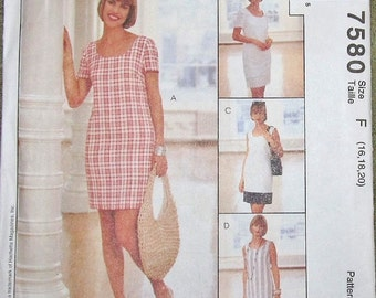 McCall's Woman's Day Collection 7580 Shift Dress, Womens Misses Easy Vintage Sewing Pattern Size 16 18 20 Bust 38 40 42 Uncut Factory Folds