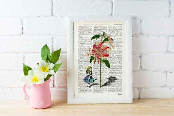 Alice in wonderland -Alice in wonderland- Alicegrowing a lilium- Alice in Wonderland Collage Print on Vintage Dictionary Bookart art ALW021