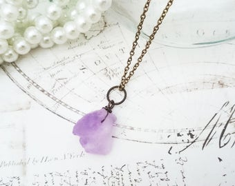 Raw Amethyst Necklace - Violet Amethyst Jewelry, Raw Crystal Necklace, Bronze Colour Chain