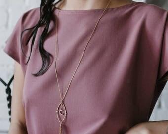 NEW! Uranometria necklace - crystal dangling back drop necklace  - gold plated 18k - avant-garde boyish chanel 1920s - bridal necklace