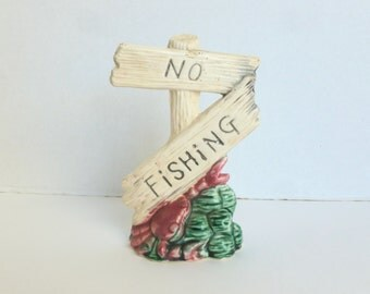 Aquarium Fish Tank No Fishing Sign Ceramic Ornament Decor Decoration Figurine