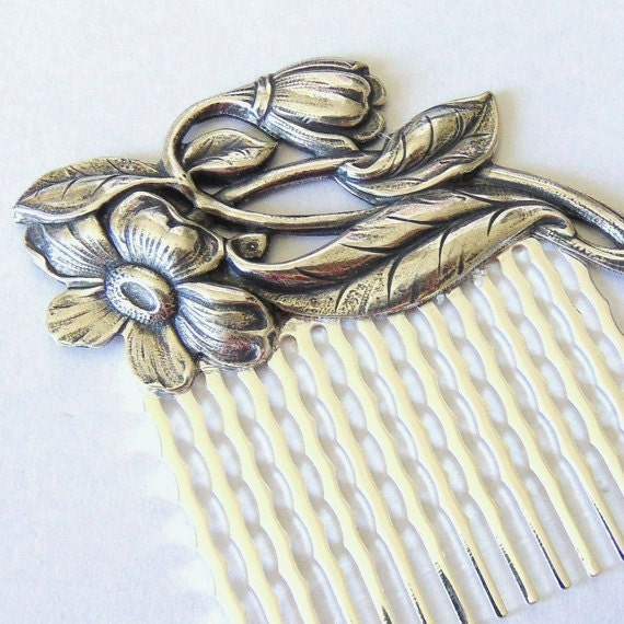 SALE Art Nouveau Hair Comb, Scrolling Flowers, Floral Comb, Antique Silver Ox Brass, Silver Hair Comb, Flower, Flower Hair Comb SAVANNAH