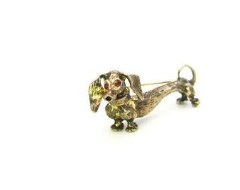 Dachshund Dog Brooch. Danecraft Sterling Silver Gold Vermeil. 3D Figural. Red Rhinestone Eyes. Cute Weiner Doxie Dog. Vintage 1970s Jewelry