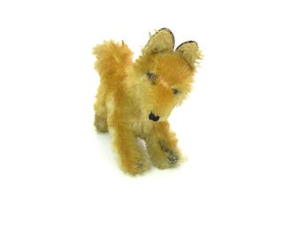 1950s Steiff Fox. Running Baby Red Fox. Mohair, Hard Stuffing, Glass Eyes. No Button / Label. Rare Vintage Stuffed Animal Collectible