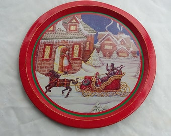 Holiday Tin Serving Tray Decorative Christmas Platter