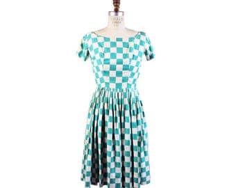 1950s Blue Checkered Dress