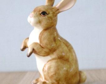 Vintage Ceramic Brown Bunny Figurine