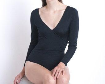 Black Bodysuit / 80s Bodysuit / Vintage Bodysuit / Size S