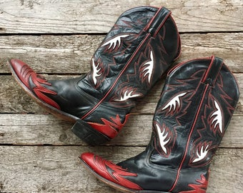 7.5 M |  Code West Fancy Outlay Western Cowboy Boots Red, Black & White
