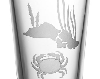 Crab, 16oz Glass, etched (Sandblasted), Original Design