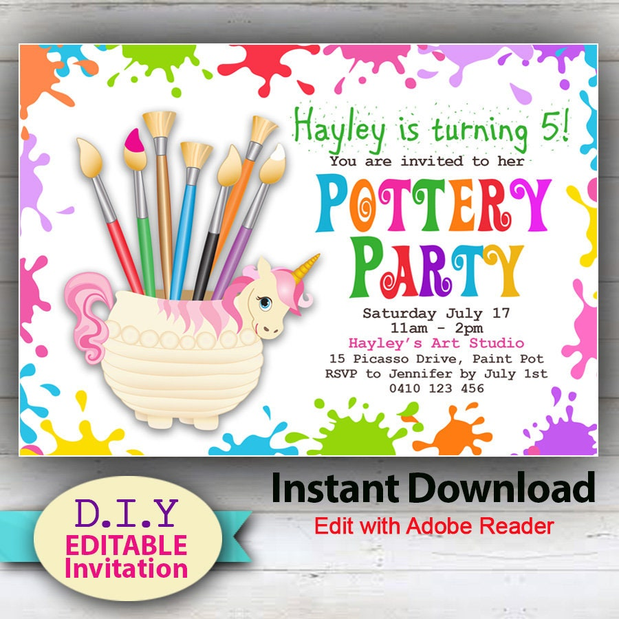 INSTANT DOWNLOAD D.I.Y Editable Pottery Party Invitation