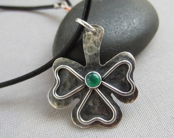 SALE 20% OFF/Hammered Silver Pendant/ Shamrock Silver Pendant/ Leather choker w. Silver Shamrock/ Pendant/ Oxidized Silver necklace.