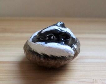 Miniature skunk figurine, animal totem, shunk totem, shadowbox figurine