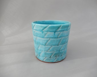 Kitchen Utensil Holder/Organizer - Turquoise Glazed Pottery