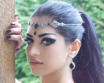 Silver Black Onyx Earrings - Dangle Earrings - Gothic Earrings - Victorian Gothic Jewelry