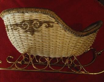 Vintage Santa Sleigh, Decorative Sleigh, White Wicker, Table Top Decoration