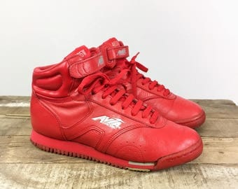 Avia Hi Top Sneakers Women's 7 Vintage 1980's Red Leather Velcro High Tops Streetwear Shoes Athletic Aerobic Trainers Foam Sole Rave Club