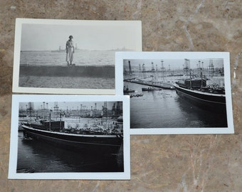 Antique WWII Battleship and Cargo Ship Photographs - Rare Original Photos - Wartime Lot - Navy / Military Collector