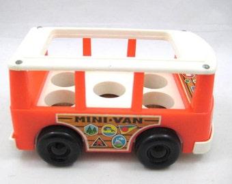 Vintage 1969 Fisher Price Little People Mini Van, FP - 141 Miniature Bus / Vehicle