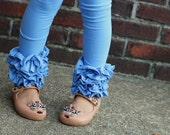 Cornflower Blue Ruffle Leggings - Blue Ruffle Leggings - 2016 Holiday Collection knit ruffle leggings - size 6m to 8 with FREE SHIPPING