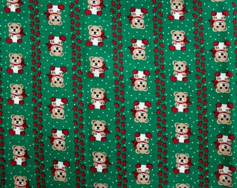 1960's Christmas Bears on Green Cotton Fabric for Quilting . Fat Quarter Half Yard . Pinstripe Bears . Children's Holiday