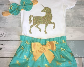 Gold Unicorn Onesie, 1st Birthday Onesie , Bloomers, Knot Bow Headband, Sparkly Unicorn Onesie, Diaper Covers, Complete Baby or Toddler Set