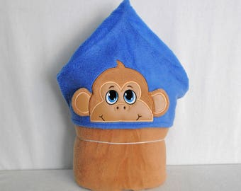 Boy Monkey on Blue and Tan Hooded Blanket