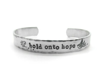 inspirational quote jewelry, inspirational jewelry, hand stamped, bird, quote Jewelry, christian, hope, new year 2017