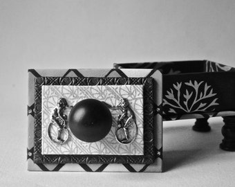 Handmade Gift Box in Black and Silver with Long Tail Monkeys
