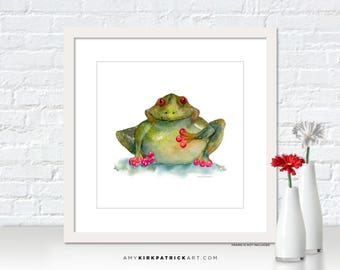 Frog Painting, Tree Frog Print, Frog Greeting Cards, Whimsical Frog Watercolor, Frog Wall Decor, Frog Wall Art, Be Still My Heart