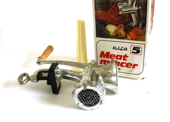 Alfa Meat Grinder #5, Hand Crank Mincer Chopper, Complete, with Sausage Stuffer Tube, Double Tinned Cast Iron