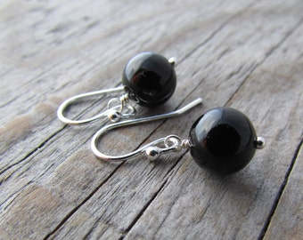 Onyx Earrings, small and simple, round black onyx dangle earrings