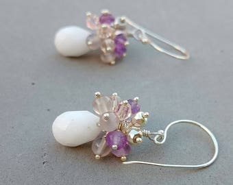 Snow White Agate Earrings with Swarovski Crystal, Amethyst and Agate Cluster on Sterling Silver