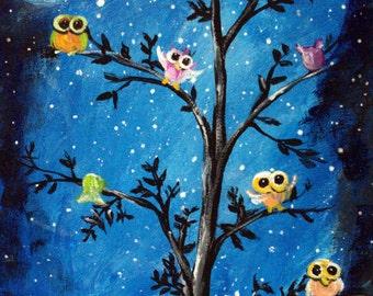 "Tree of Life, OWLS, original  painting, 8"" X 10"" canvas panel, Nursery art on Canvas, unframed Moonlight art, Whimsical art on canvas"