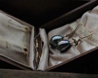 ON HOLD Tahitian Pearl Earrings, Large Pearl Earrings, 14 Karat Yellow Gold Earrings, Pearl Drop Earrings, Black Pearl Earrings.