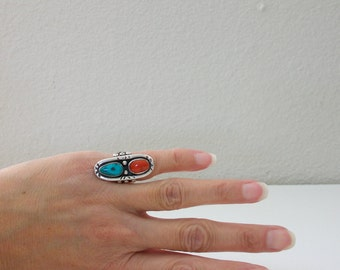 Vintage Turquoise Ring Blue Turquoise Red Coral Pinky Ring Size 3 Ring Native American Silver Pinky Sterling Silver Pinkie Ring FREE US SH