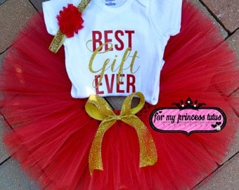 """Baby Girl Christmas """"Best Gift Ever"""" outfit baby girl first christmas outfit baby christmas 1st christmas christmas outfit tutu onesie"""