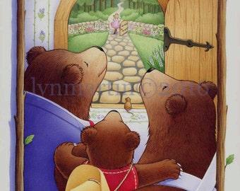 Goldilocks and the Three Bears book and cover art   Original painting