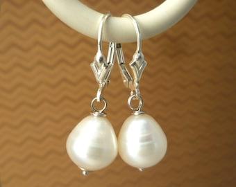 White Pearl & Sterling Silver Earrings - Pearl Drop Earrings