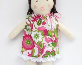 Rag doll child friendly softie plushie doll, cloth doll, stuffed doll, fabric doll pink green brown hair doll baby shower and birthday gift