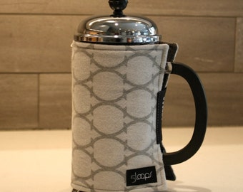 French Press Coffee Cozy Gray Flannel Print French Press Wrap in Modern Print French Press Coffee Cover