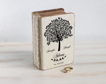 Wedding Ring Box Rustic ring bearer box Personalized ring box Wedding tree box Еngagement ring box Ring pillow Custom ring box Book ring box