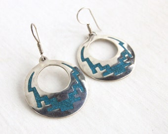 Mexican Dangle Earrings Vintage Turquoise Hoops Southwest Sterling Silver Plated Alpaca Hoop Dangles