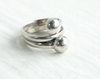 Ball Wrap Ring Mexican Sterling Silver Size 7 .5 Vintage Mexican Stacked Wide Ring Band Industrial Jewelry