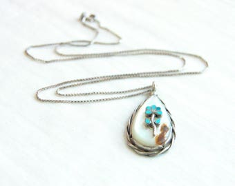 Turquoise Mother of Pearl Necklace Vintage Blue Flower Pendant Sterling Silver 19 Inch Chain Southwestern Jewelry Gift for Her