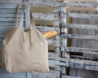 Linen Tote Bag - Canvas Bag - Natural Linen Bag - Big Market Bag - Beach Bag