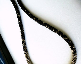 Luxurious beaded Kumihimo necklace w/magnetic clasp, over the head length, black & silver